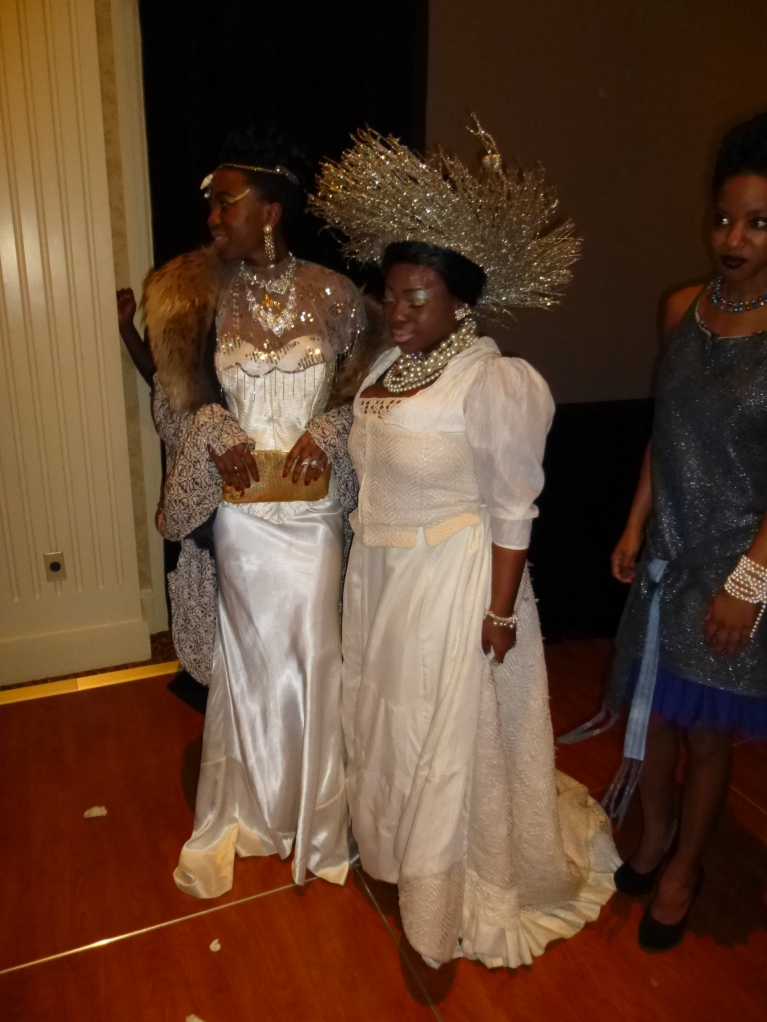 Vintage wedding gowns, woven cassette tape, vintage fur/curtains, vintage lace, woven plastic grocery bags