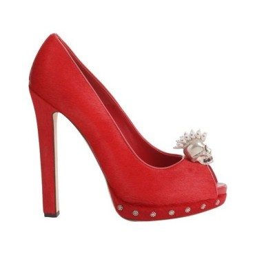 Alexander McQueen Red Pony Punk Skull Peep-Toe heels