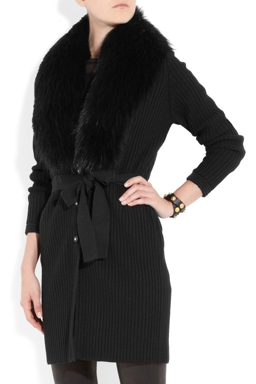 Versace Fox-trimmed ribbed wool cardigan